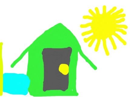 This is a picture my son drew of his preschool. Note the sunshine and the giant door.