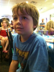 Smoke, too, was a little dazed while watching Chuck E. Cheese perform the birthday song.
